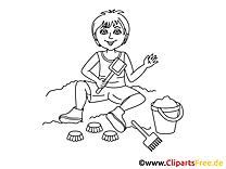 Kind im Sandkasten Bild, Clipart, Illustration schwarz-weiß zum Ausmalen