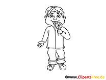 Kind mit Lutscher Bild, Clipart, Illustration schwarz-weiß zum Ausmalen