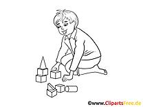 Kind spielt mit Bauklötzen Bild, Clipart, Illustration schwarz-weiß