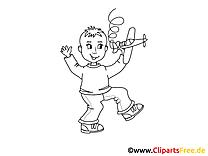 Kostenlose Malvorlage Kind spielt mit Flugzeug