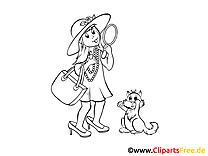 Kostenlose Malvorlage Mädchen mit Spiegel, Katze