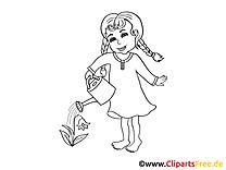 Mädchen mit Gießkanne Bild, Clipart, Illustration schwarz-weiß zum Ausmalen