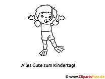Malvorlage zum Kindertag - Kleiner Taucher