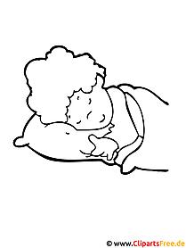 Malvorlagen für Kindergarten kostenlos - Schlafendes Kind