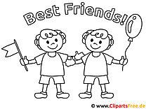 Malvorlagen fuer Kinderzimmer - Beste Freunde