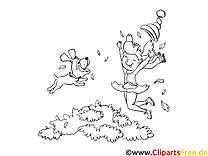 Welpe und Mädchen springen - Herbstbilder zum Ausdrucken