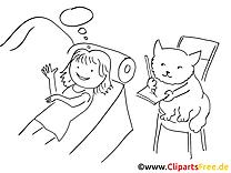 Mädchen und Katze - Bild zum Ausmalen