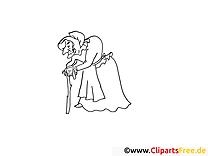 Alte Hexe aus dem Märchen Dornröschen Bild zum Ausmalen