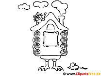 Haus Hexe im Wald Malvorlage kostenlos