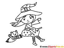 Kleine Hexe auf Besen Malvorlage