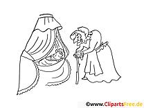 Märchenbilder zum Ausmalen Hexe und Dornröschen
