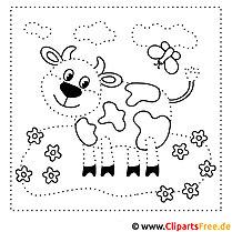 Zahlenbild lustige Kuh auf der Wiese zum Ausdrucken