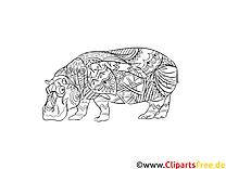 Ausmalbild für Erwachsene Tiere, Nilpferd zum Ausdrucken