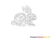 Kaninchen, Hase Ausmalbild für Erwachsene Tiere
