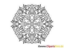 Blüte  Muster Mandala-Vorlage zum Drucken und Malen
