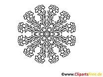 Blume Muster Mandala-Ausmalbild gratis