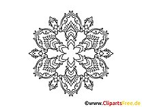 Schneeflocke Muster Mandala-Ausmalbild gratis