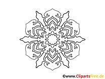 Schneeflocke Muster Mandala-Vorlage zum Drucken und Malen