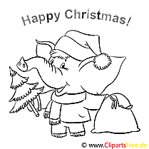 Elefant mit Sack Happy Christmas Pages to color, Malbilder