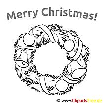 Girlande Glocke Merry Christmas Colourings, Ausmalbilder
