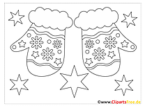 Gloves Christmas Colorings for free