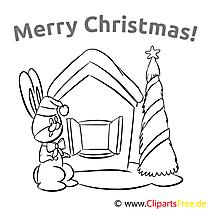 Hase Haus Merry Christmas Colourings, Ausmalbilder