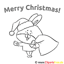 Hase Sack Merry Christmas Coloring Templates