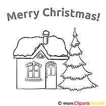 Haus Fichte Merry Christmas Colouring Templates