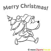 Hund Weihnachtsbaum Merry Christmas Colourings, Ausmalbilder