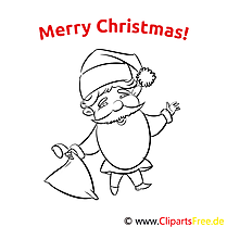 Merry Christmas Coloring Page Weihnachtsmann Geschenkbeutel