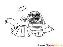 Mode Kleidung Ausmalbild für Kinder kostenlos