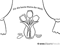 Blumenstrauss für Mutter Ausmalvorlage, Malvorlage, Malbild gratis