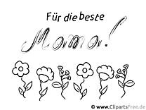 Gratulation zum Muttertag - Bild zum Ausmalen gratis