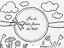 Grusskarte zum Muttertag Ausmalvorlage, Malvorlage, Malbild gratis