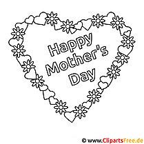 Herzm zum Muttertag Ausmalbild