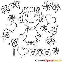 I love Mom - Malvorlage zum Muttertag