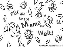 Karte für Muttertag Ausmalvorlage, Malvorlage, Malbild gratis