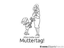 Mama mund Kind - Bild zum Ausmalen gratis