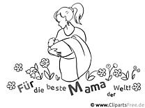 Mutter mit Baby - Ausmalbilder zum Muttertag
