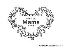 Ranken Herz für Mama - Ausmalbilder zum Muttertag