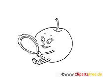 Apfel mit Spiegel Ausmalbilder für Kinder gratis