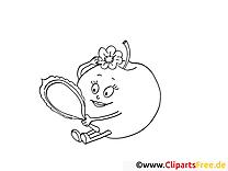 Apfel schaut sich im Spiegel an Ausmalbild für Kinder kostenlos ausdrucken