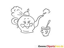 Glückliche Teekanne Bilder zum Ausmalen