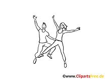 Junge Leute tanzen Party gratis Bilder zum Ausmalen
