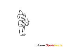 Junge mit Geburtstagstorte Malvorlagen und kostenlose Ausmalbilder