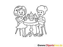 Kinder trinken Tee Bilder zum Ausmalen