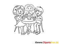 Mutter und Kinder trinken Tee Malvorlagen und kostenlose Ausmalbilder