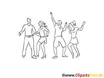 Tanzen Party Ausmalbild zum Ausdrucken