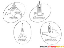Hauptstädte Reisen kostenlose Ausmalbilder