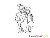 Ausmalbild Kindergarten - Kinder beim Laternenumzug